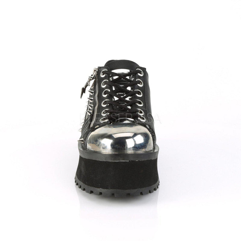Black Vegan Leather Platform Shoes GRAVEDIGGER-04 - Unisex