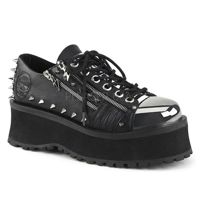 Black Vegan Leather Platform Shoes GRAVEDIGGER-04 - Unisex-Demonia-Dark Fashion Clothing