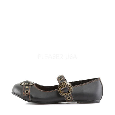 Black Vegan Leather SteamPunk Shoes - DAISY-09 - Womens-Demonia-Dark Fashion Clothing