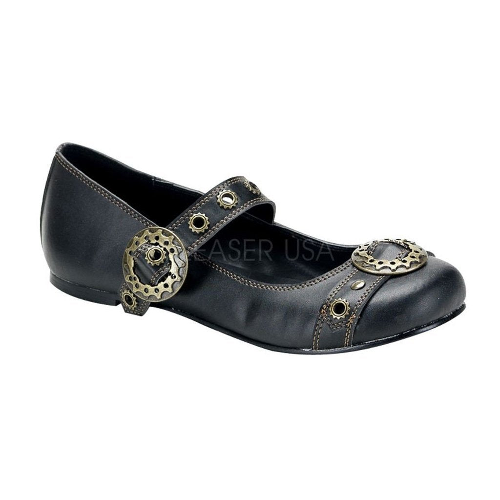 Black Vegan Leather SteamPunk Shoes - DAISY-09 - Womens