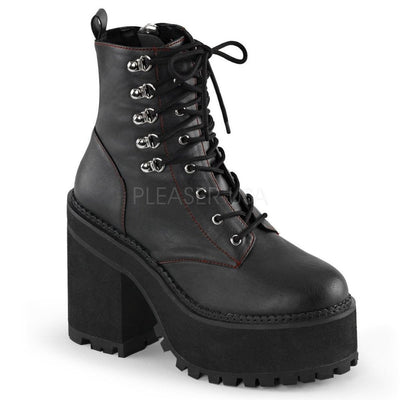 Black Vegan Leather Vegan Boots - ASSAULT-100 - Womens-Demonia-Dark Fashion Clothing