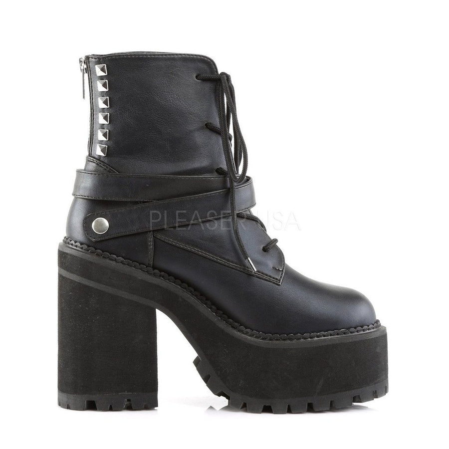 Black Vegan Leather Vegan Boots - ASSAULT-101 - Womens-Demonia-Dark Fashion Clothing