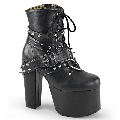 Black Vegan Leather Vegan Boots - TORMENT-700 - Womens-Demonia-Dark Fashion Clothing