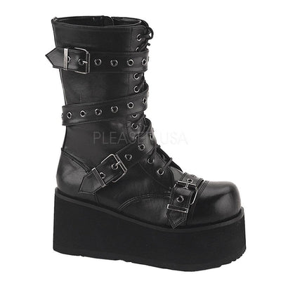 Black Vegan Leather Vegan Boots - TRASHVILLE-205 - Unisex-Demonia-Dark Fashion Clothing