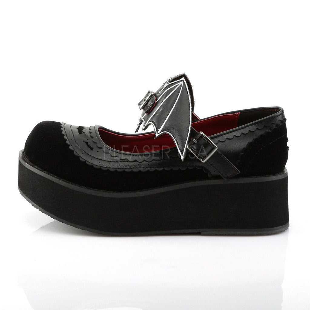 4c60538bbabe Black Vegan Leather-Velvet Platform Shoes SPRITE-09 - Womens-Demonia-Dark