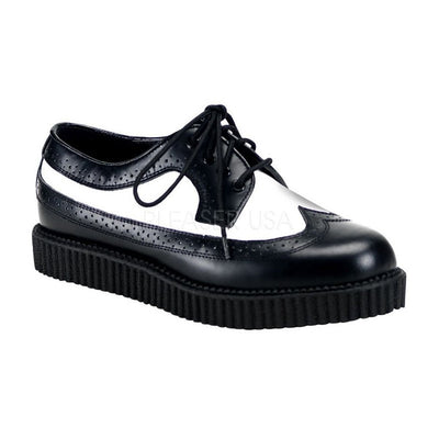 Black-White Leather Creepers - CREEPER-608 - Unisex-Demonia-Dark Fashion Clothing