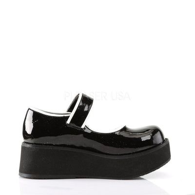 Black-White Patent Platform Shoes - SPRITE-01 - Womens-Demonia-Dark Fashion Clothing