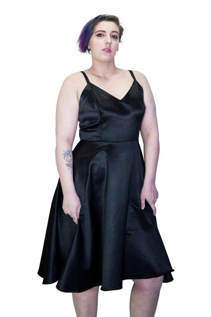 Black Wings Raw Silk Plus Size Midi Dress - Angelique-Dr Faust-Dark Fashion Clothing