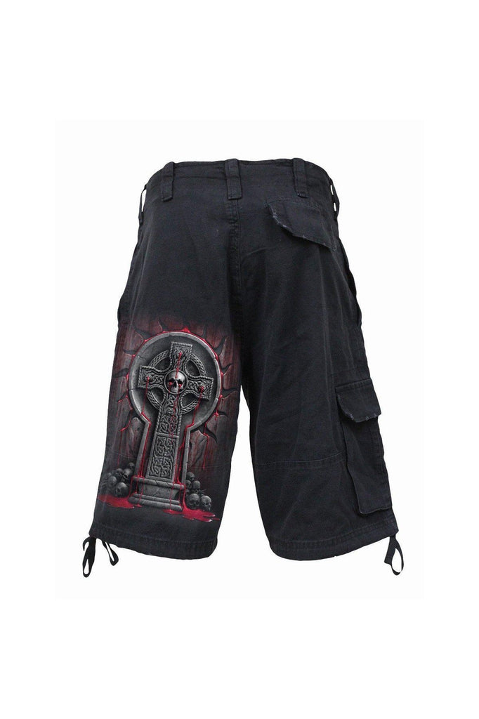 Bleeding Souls - Vintage Cargo Shorts Black-Spiral-Dark Fashion Clothing