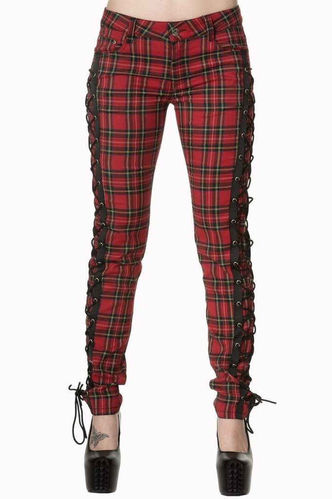 Boldly Beautiful Tartan Non Stretch Trousers-Banned-Dark Fashion Clothing