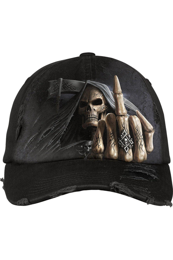 Bone Finger - Baseball Caps Ditressed With Metal Clasp-Spiral-Dark Fashion Clothing