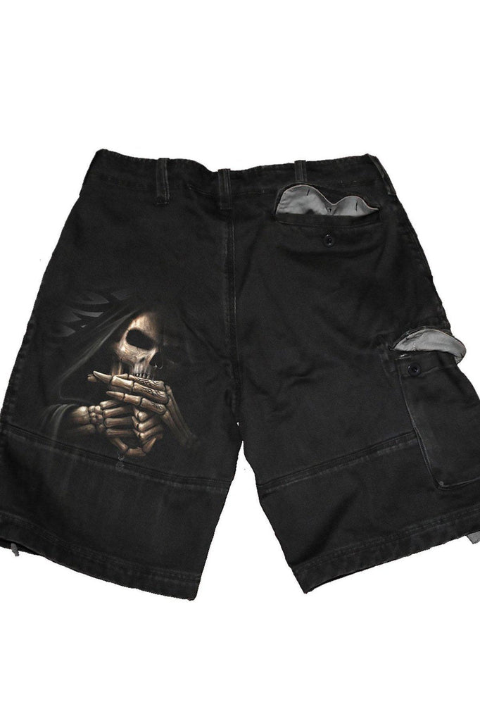Bone Finger - Vintage Cargo Shorts Black-Spiral-Dark Fashion Clothing