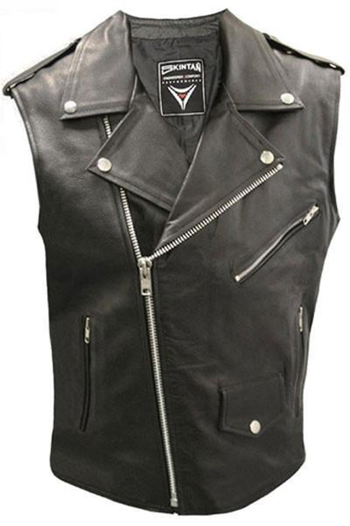 7cd6925ed5dc7 Brando Sleeveless Biker Vest - Skintan Leather-Skintan Leather-Dark Fashion  Clothing