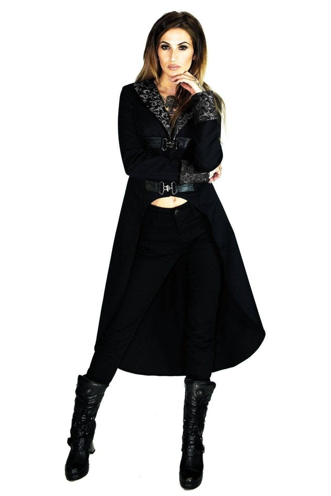 Brocade Silver Details Long Black Cotton Coat - Matilda-Dr Faust-Dark Fashion Clothing