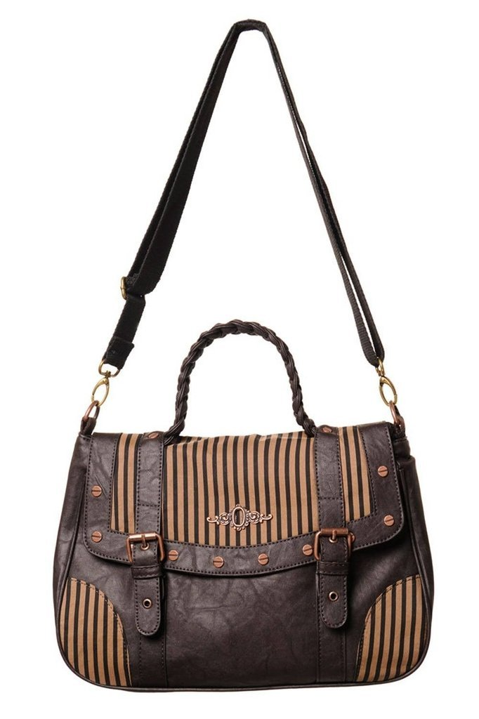 Brown Stripe Handbag-Banned-Dark Fashion Clothing