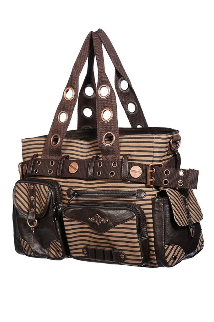 Brown Stripe Shoulder Bag-Banned-Dark Fashion Clothing