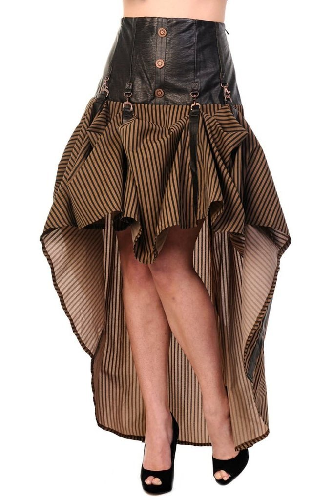 Brown Stripe Steampunk Skirt-Banned-Dark Fashion Clothing