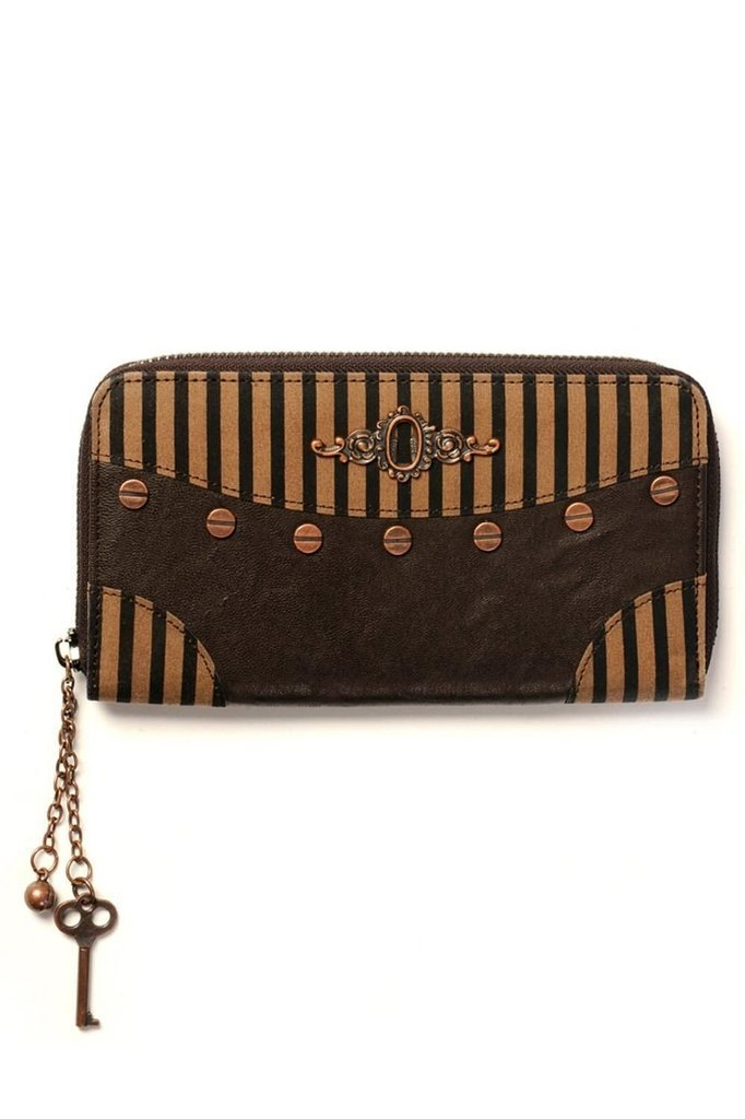 Brown Stripe Wallet-Banned-Dark Fashion Clothing