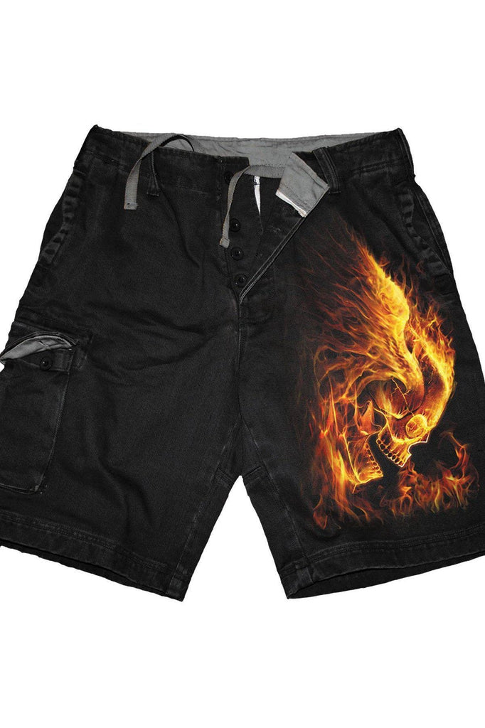 Burn In Hell - Vintage Cargo Shorts Black-Spiral-Dark Fashion Clothing