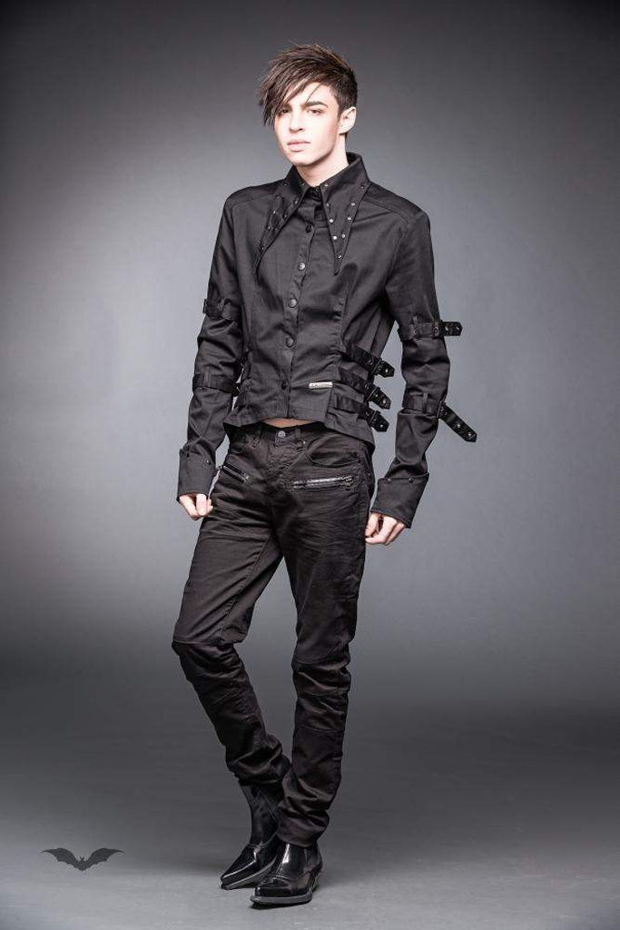 Button Down Shirt With Pointed Collar And Black Tail-Queen of Darkness-Dark Fashion Clothing