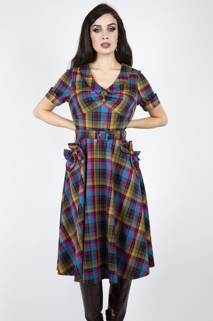 Camilla Plaid Flare Dress-Voodoo Vixen-Dark Fashion Clothing