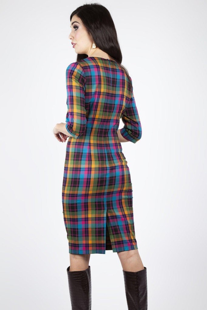 Camilla Plaid Pencil Dress-Voodoo Vixen-Dark Fashion Clothing