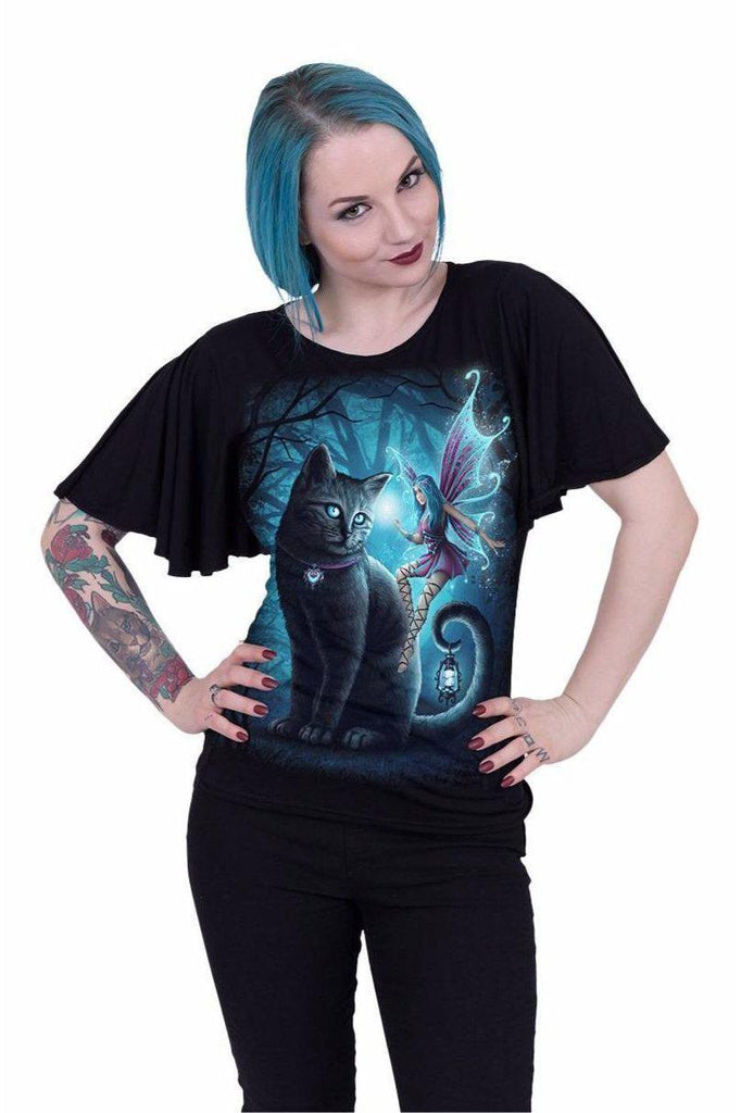 Cat And Fairy - Boat Neck Bat Sleeve Top Black-Spiral-Dark Fashion Clothing