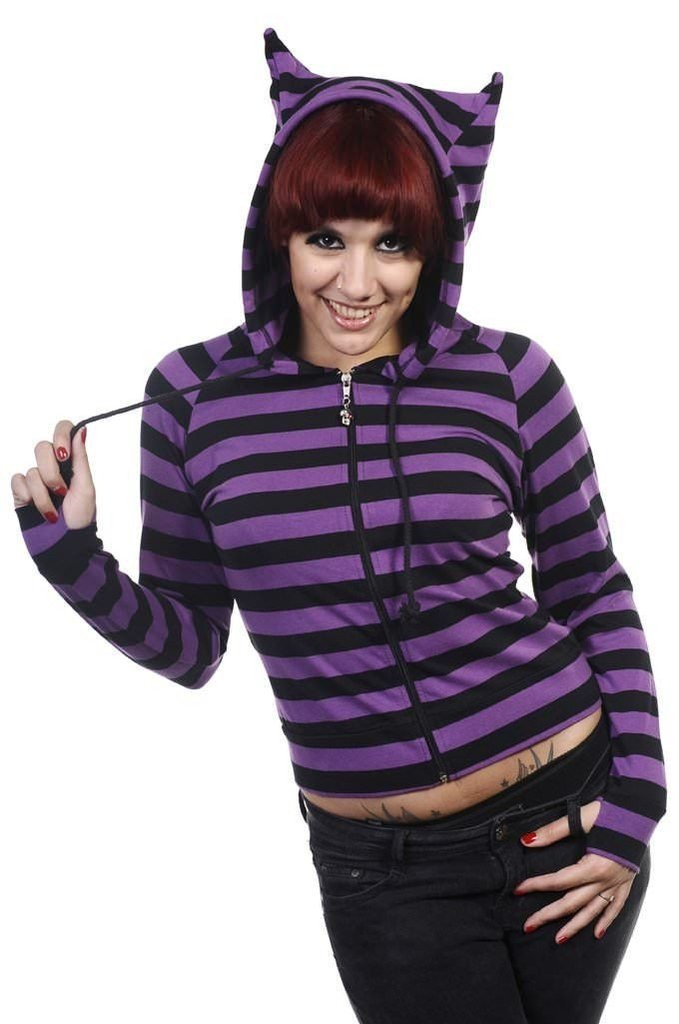 Cat Ears Striped Hoodie-Banned-Dark Fashion Clothing