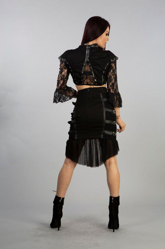 Cecillia Knee Length Skirt In Black Twill And Fishnet Panels-Burleska-Dark Fashion Clothing