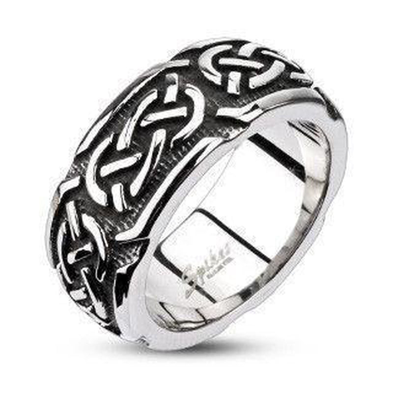 Celtic Knot Ring Stainless Steel-Spikes-Dark Fashion Clothing