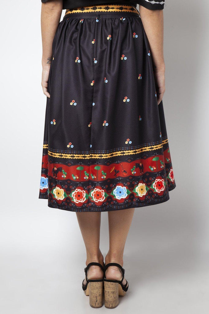Charlotte Border Print Flare Skirt-Voodoo Vixen-Dark Fashion Clothing