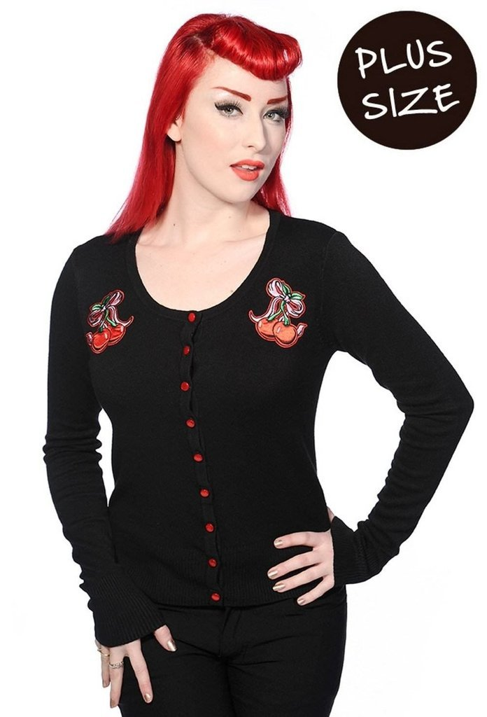 Cherry Bow Black Plus Size Cardigan-Banned-Dark Fashion Clothing