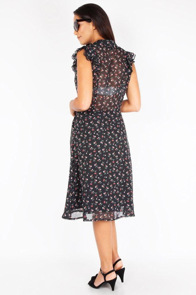 Cheryl Cherry Print Black Tea Dress-Voodoo Vixen-Dark Fashion Clothing