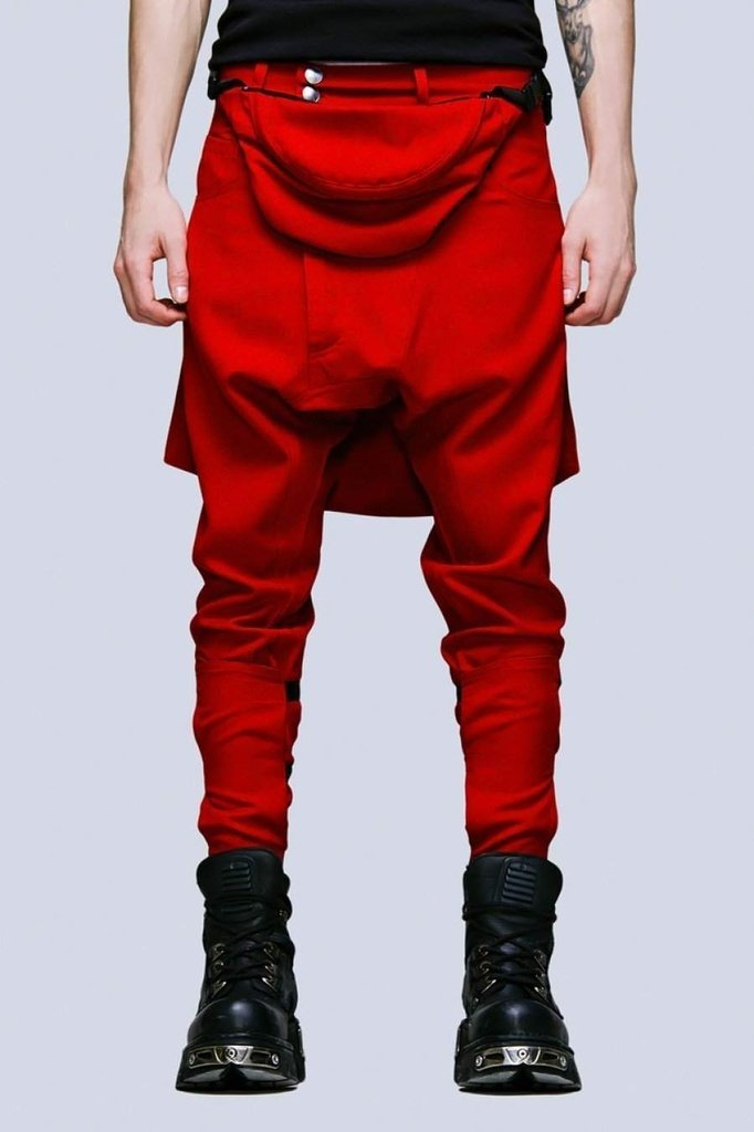 Clip Pants Block Red - Unisex-Long Clothing-Dark Fashion Clothing