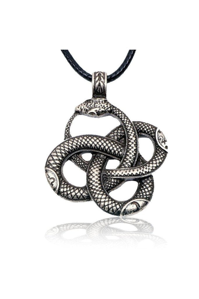 Coiled Snakes Pendant and Black Necklace - Isabel-Dr Faust-Dark Fashion Clothing
