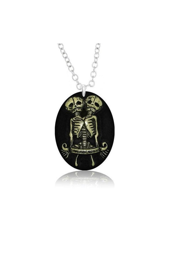 Conjoined Twins Skeleton Pendant and Necklace - Gemini-Dr Faust-Dark Fashion Clothing
