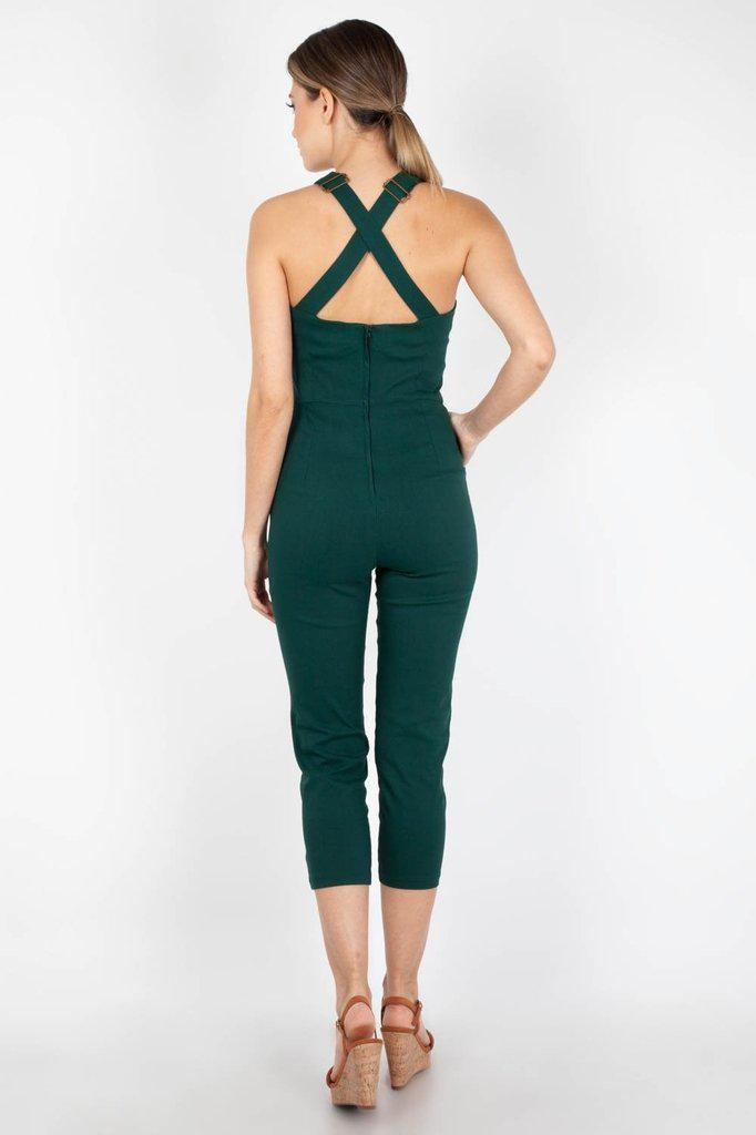 Connie Fitted Capri Overalls-Voodoo Vixen-Dark Fashion Clothing