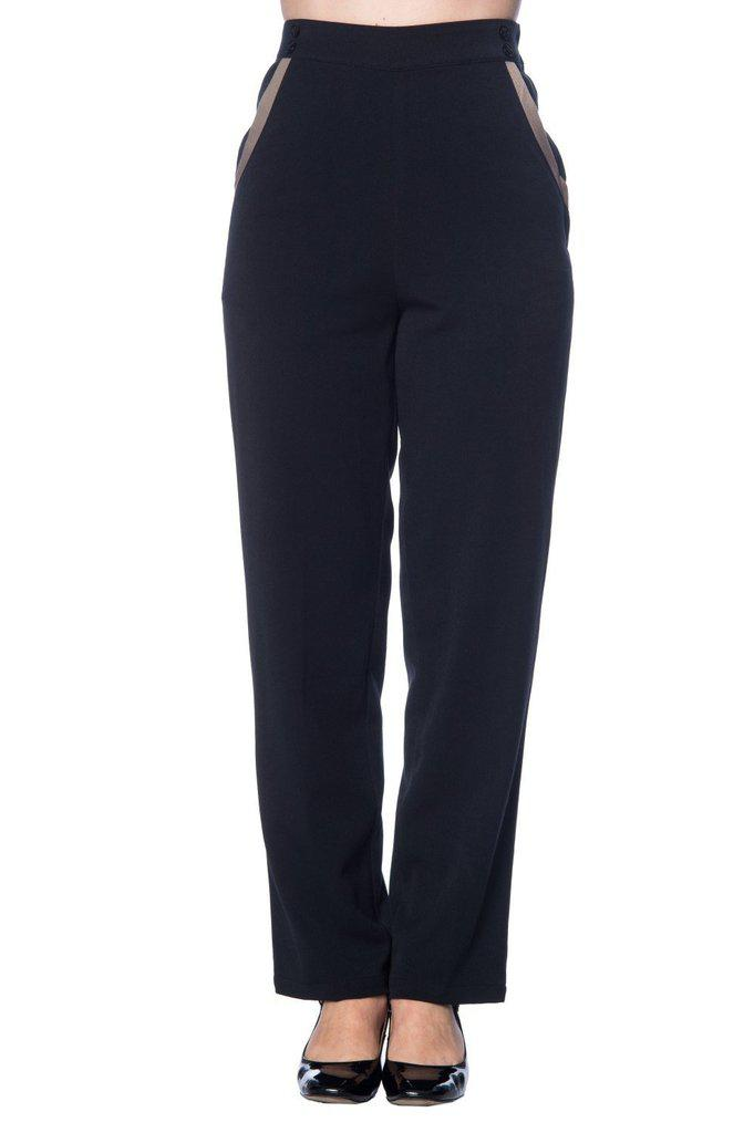 Contrast Trim Trousers-Banned-Dark Fashion Clothing