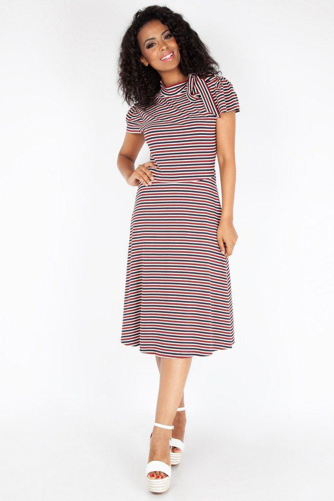 Corinna Striped Neck Tie Dress-Voodoo Vixen-Dark Fashion Clothing
