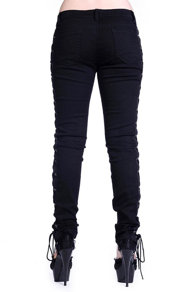 Corset Style Black Skinny Jeans-Banned-Dark Fashion Clothing