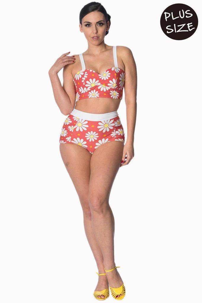 Crazy Daisy Plus Size Built Up Swimsuit Top-Banned-Dark Fashion Clothing