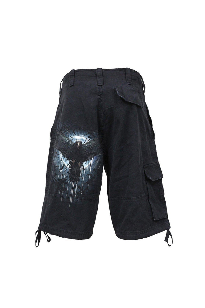Crow Moon - Vintage Cargo Shorts Black-Spiral-Dark Fashion Clothing