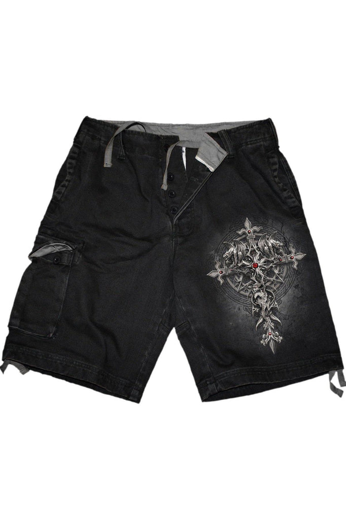 Custodian - Vintage Cargo Shorts Black-Spiral-Dark Fashion Clothing