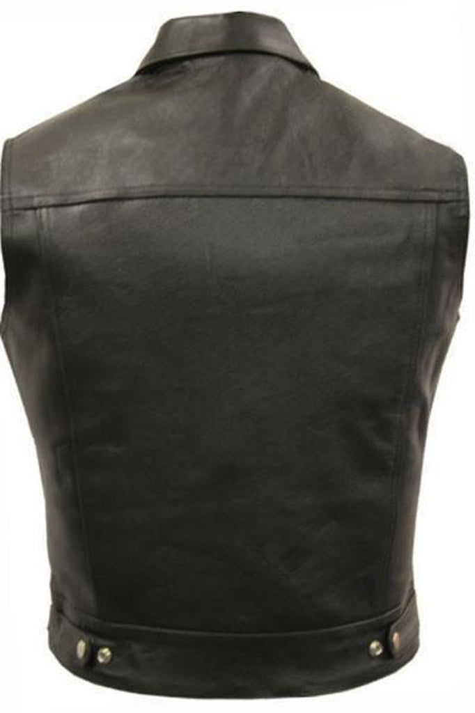 Cut-Off Biker Vest - Trucker-Skintan Leather-Dark Fashion Clothing