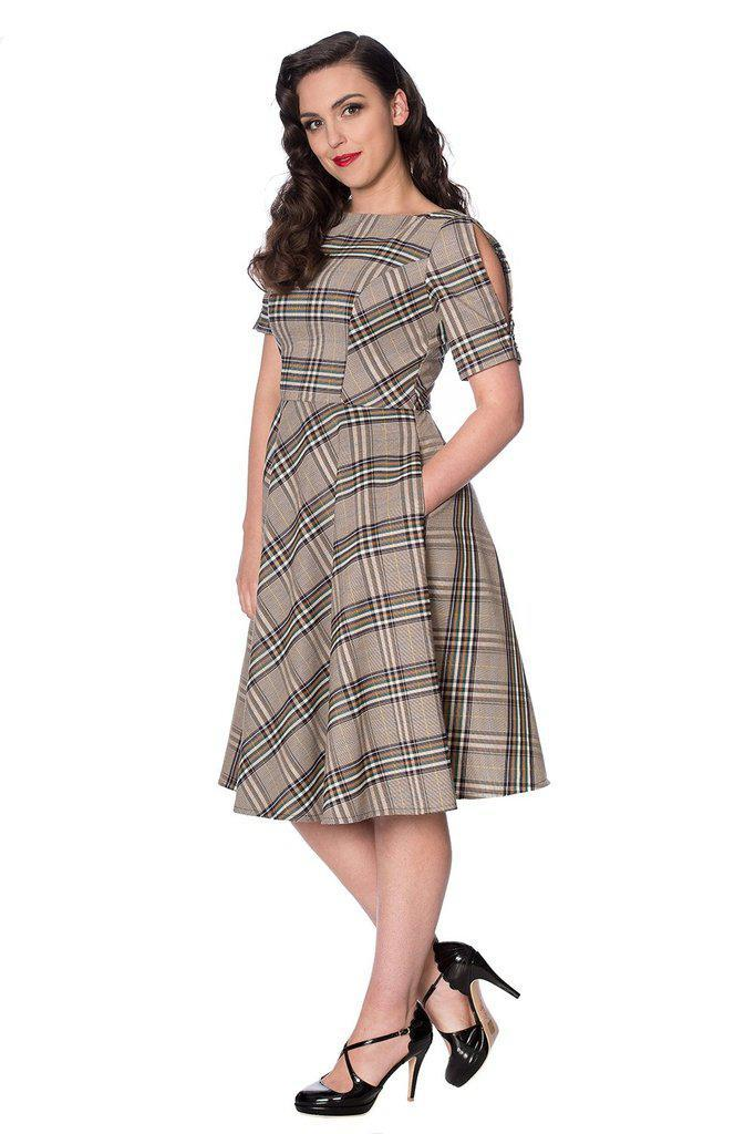 Cutie Check Fit And Flare Dress-Banned-Dark Fashion Clothing