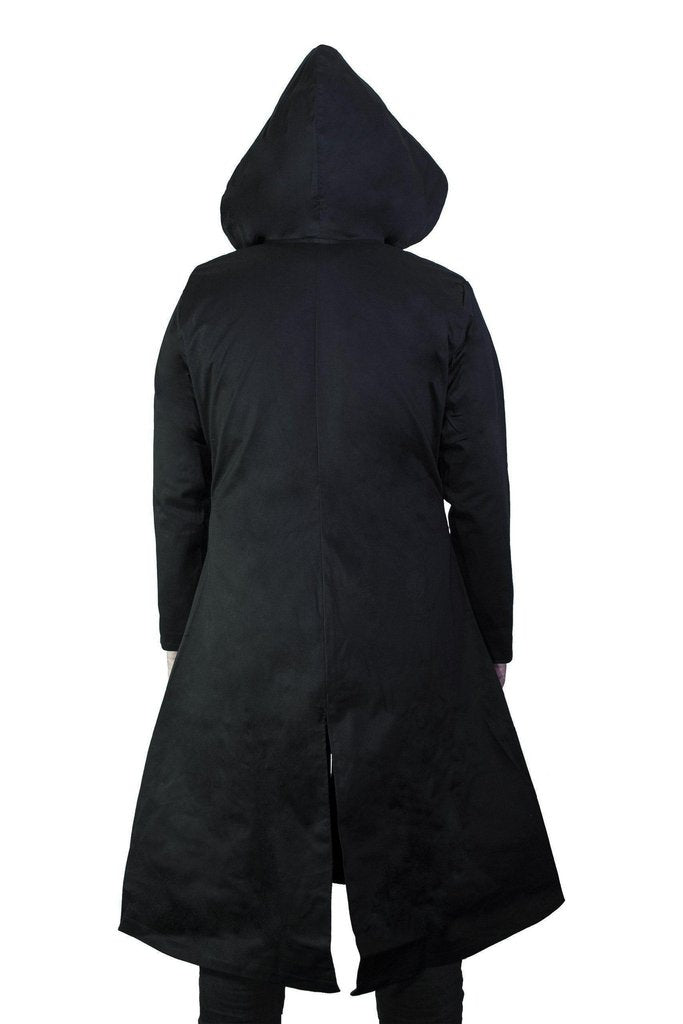 D-Ring Black Goggles Long Cotton Coat - Cassius-Dr Faust-Dark Fashion Clothing