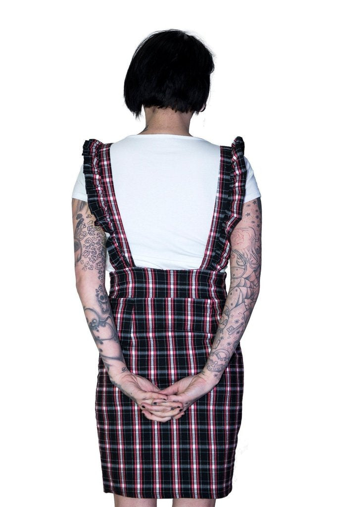 Dark Tartan Checked Pinafore Dress and T-Shirt Set - Romina-Dr Faust-Dark Fashion Clothing