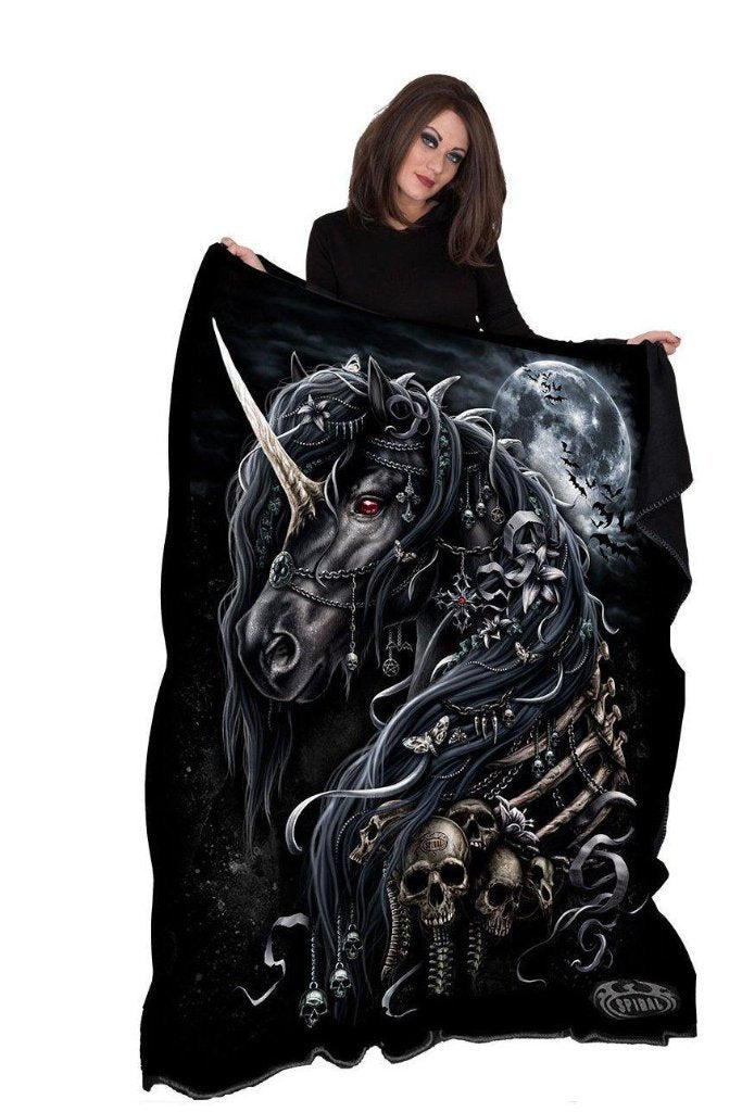 Dark Unicorn - Fleece Blanket With Double Sided Print-Spiral-Dark Fashion Clothing