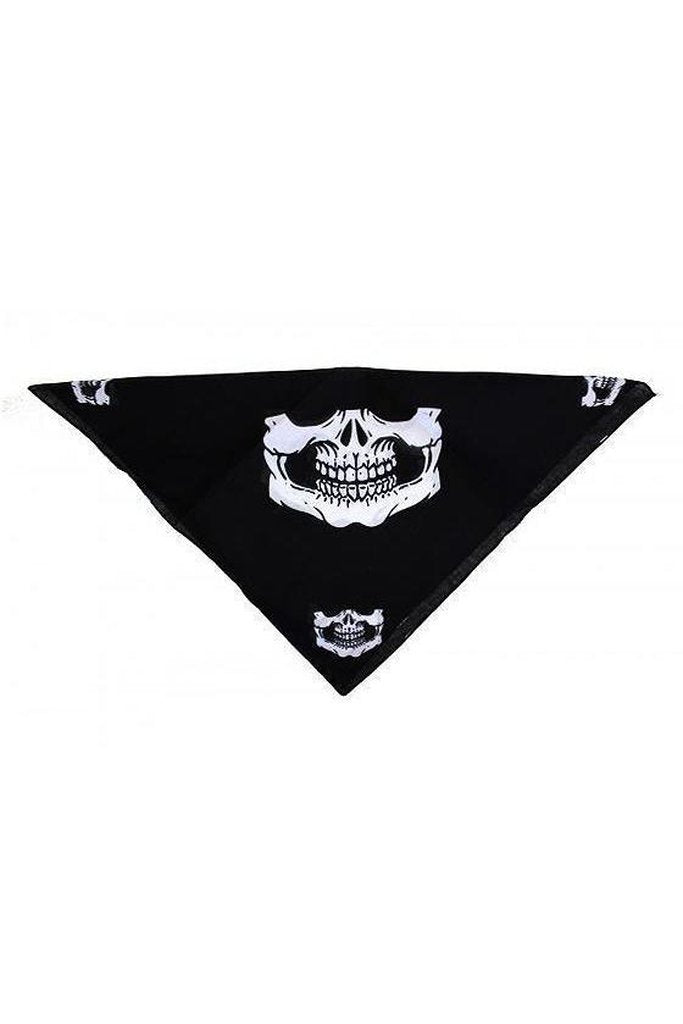 Dead Outlaw Skull Jaw Black Cotton Bandana - Lecter-Dr Faust-Dark Fashion Clothing