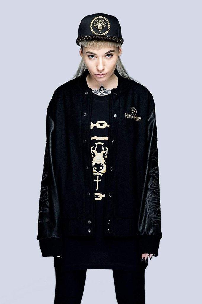 Death Adder Chain Gold Varsity Jacket - Unisex